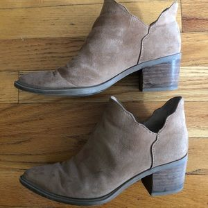 Betsey Johnson Camel Scalloped Booties